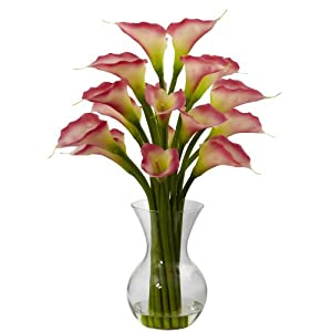 Nearly Natural 1299-PK Galla Calla Lily with Vase Arrangement, Pink 54
