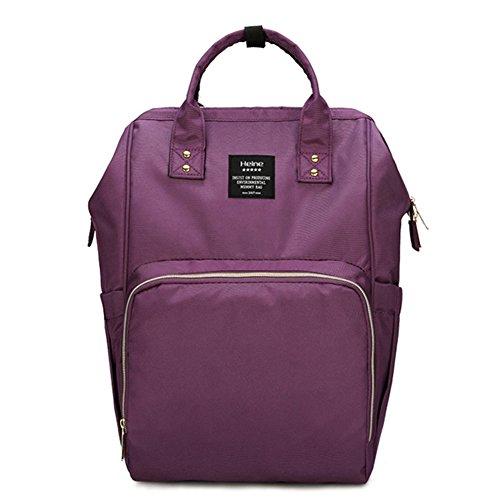 poliking mochila para pañales para cuidado del bebé, multifuncional para bebé pañal bolso cambiador con bolsillos, tela impermeable, gran capacidad rosa rosa morado
