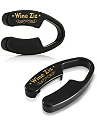 Wine ZIZ Durable Dual Blade Foil Cutter Opener for Wine Bottles - Sharp Blades quickly and effortlessly removes foil - Sleek Design Wine Accessory - Black Bar Style - Excellent Gift Idea - 2 Pack