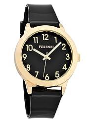 Ferenzi Women's | Fun Black on Black Watch with Gold-Tone Case and Gloss Strap | FZ15606