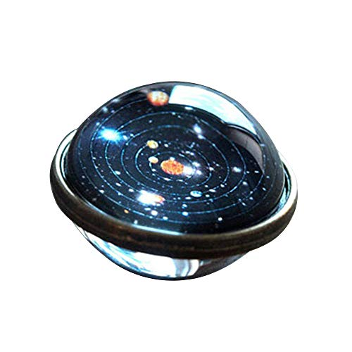 Halloween Hot Sale!!!Kacowpper Galaxy Necklace,Solar System Necklace Pendant Planet Necklace Galaxy Double Sided Glass Dome Valentine's Day Best Gift Between Lovers ()
