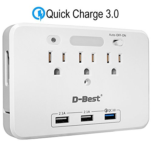 D-Best Wall Mount Surge Protector 3-Outlet Power Strips with Smart QC 3.0 USB Charger (1 Quick Charge 3.0 + 2 standard usb) and 2 Slide Out Phone Holders and Auto Sensor LED Night Light (White) by D-Best