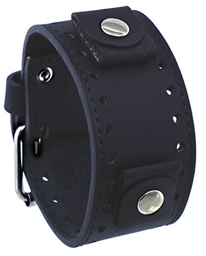 Cuff Fashion Leather Watch - Rev #CHO-K Crazy Horse Series Italian Design 22mm Lug Width Wide Black Leather Cuff Watch Band