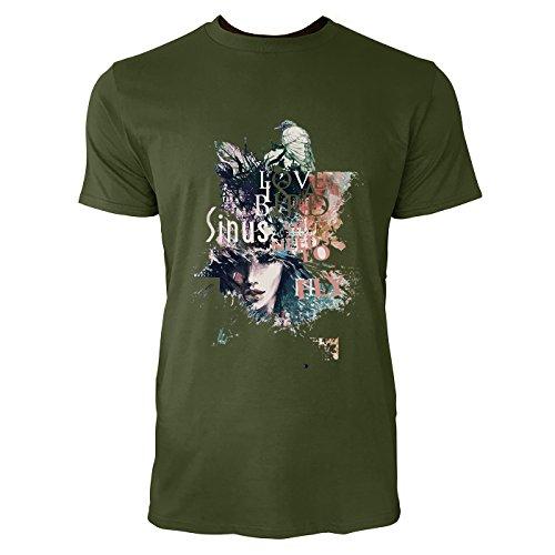 SINUS ART® Frauengesicht mit Vogel und floralem Hintergrund Herren T-Shirts in Armee Grün Fun Shirt mit tollen Aufdruck