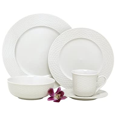 Melange Dinnerware Nantucket Weave Porcelain 40-Piece Place Setting, White, Service for 8