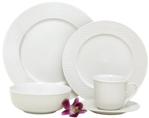 Melange BLY-04W40 40-Piece Porcelain Dinnerware Set (Nantucket Weave) | Service for 8 | Microwave, Dishwasher & Oven Safe | Dinner, Salad Plate, Soup Bowl, (Serving for 8), White ()