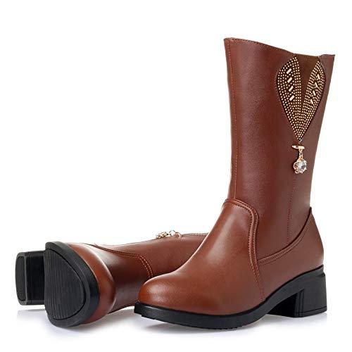 Botas De Mujer Para Invierno Cuero Plataforma Con Pingxiannv Zapatos wqHf50x