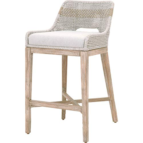 Orient Express Furniture Tapestry Bar Stool Taupe White Flat Rope