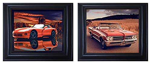 1964 Pontiac GTO and Red Hot Dodge Viper Classic Vintage Sports Car Black Framed Wall Decor Two Set Art Print Posters ()