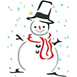 Snowman Stencil - 3.25 x 4 inch (S) - Reusable Christmas Snow Winter Decor Wall Stencils for Painting - Use on Cards Decorations Scrapbook Journal Walls Floors Fabric Furniture Glass Wood etc.