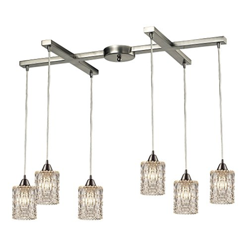 Elk Lighting 103436 Kersey Collection 6 Light Chandelier Satin Nickel