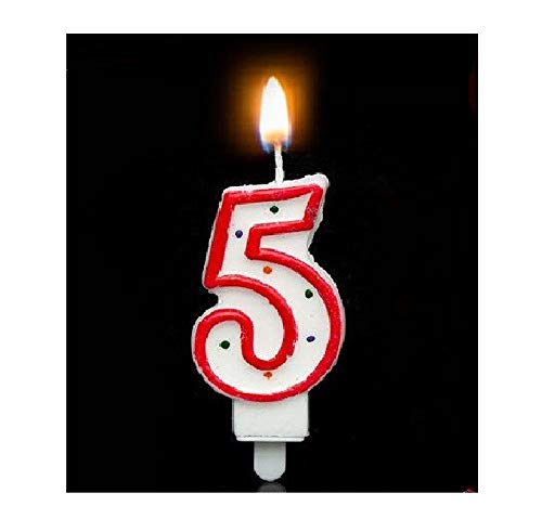 Lihin Exquisite Chirld Kid Toy Creative Digital 0-28 Cake Candles Great Birthday Wedding Party Christmas Celebrations Candle Decor (Color : Red 5)