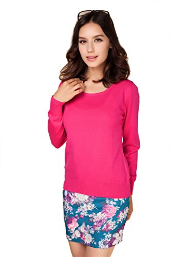 (Panreddy Women's Cashmere Wool Blended Long Sleeve Crew Neck Sweater Rose red XL)