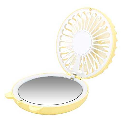 Aorda Mini Necklace Fan, Portable Small USB Rechargeable Desk Fan, 850mAh Foldable Handheld Fan Personal Fan with Makeup Mirror Led Light for Office, Outdoor, Travel (Yellow) ()