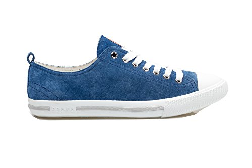Prada-Mens-Suede-Leather-Lace-Up-Flat-Sneaker-Shoes-Blue