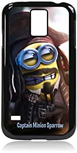 captain minion sparrow - Hard Black Plastic Snap - On Case with Soft Black Rubber LiningGalaxy s5 i9600 - Great Quality!