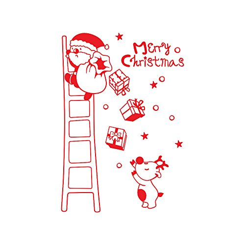 Window Decal Stickers Clings Christmas Decorations Ornaments Party Supplies Wall Window Stickers Santa Claus Christmas Xmas Vinyl Art Decoration Decals (Red)
