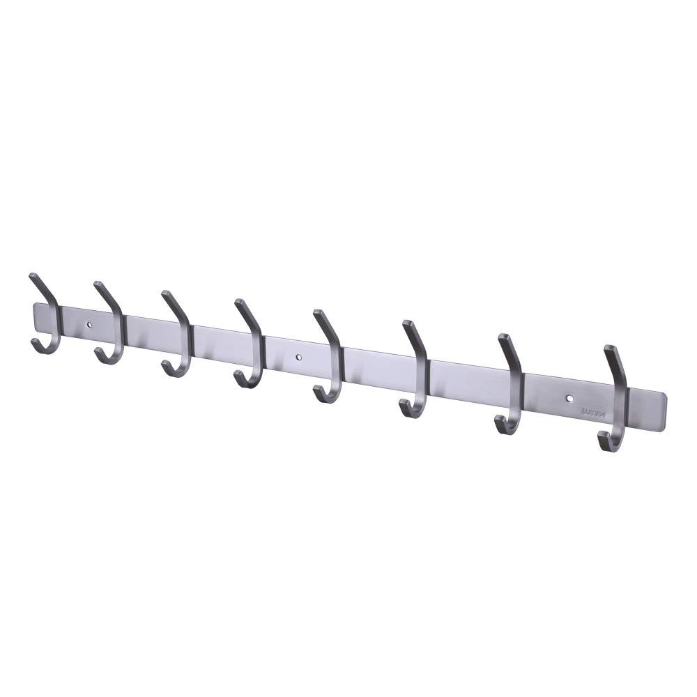 Kes Towel/Coat Hook Rack Rail 8-Hook Shelf Robe Hanger Wall Mount, Brushed SUS 304 Stainless Steel, AH203H8-2