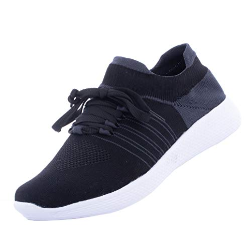Enjoy Men's Sports Lightweight Lace Up Shoes Stylish Mesh Walking Shoes with Comfortable Memory Cushioning