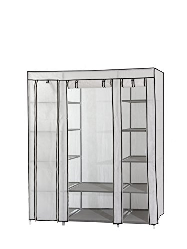 (Dream Palace Portable Fabric Wardrobe with Shelves, Covered Closet Rack, with Bonus Sock Organizer, Hanger Pack, Extra Wide 59 (White))
