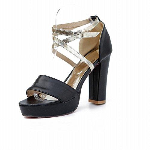Carol Shoes Fashion Womens Buckle Assorted Colors Sexy Elegance Platform High Chunky Heel Sandals Black