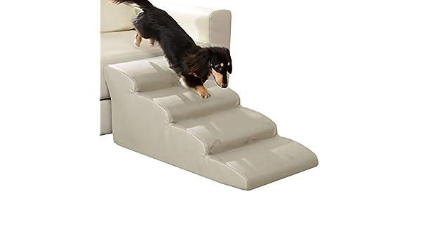 Escalera de Mascota Escaleras para Perros/Escalera para sofá, Cama Alta y sofá Alto - Rampa para Mascotas de 4 Pasos para Perros pequeños y Viejos - Blanco, Fondo Antideslizante: Amazon.es: Hogar