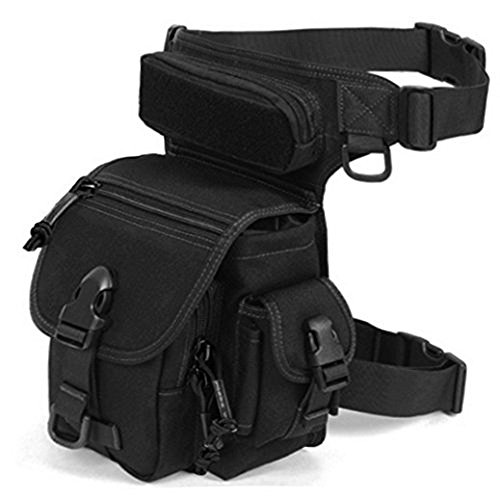 BootKitchenTan Military Tactical Drop Leg Bag Tool Fanny Thigh Packs for Motorcycle Outdoor Bike Cycling traivel (Black)