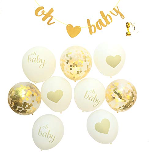 Baby Shower Decorations Neutral Decor Strung Banner OH Baby, 9PC Balloons, Ribbon Gold Confetti White Kit Set Hang on Wall Glitter Unisex Pregnancy Announcement Gender Reveal Party Gold -