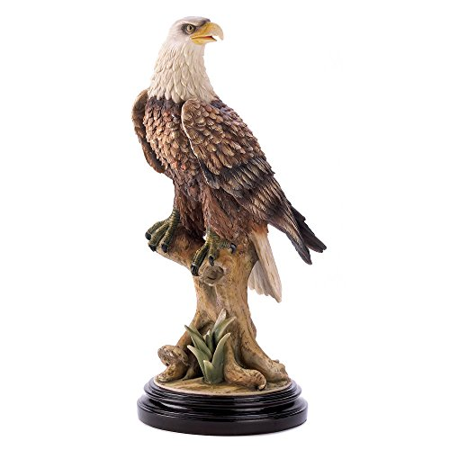[Tall Wildlife Bald Perched Eagle Figure Bird Statue Figurine Sculpture Wood Base] (Museum Of Country Life And Costume)