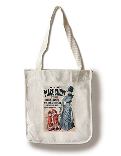 A la Place Clichy - Costumes Demiers Vintage Poster (artist: Cheret) France c. 1883 (100% Cotton Tote Bag - Reusable, Gussets, Made in (France National Costume For Kids)