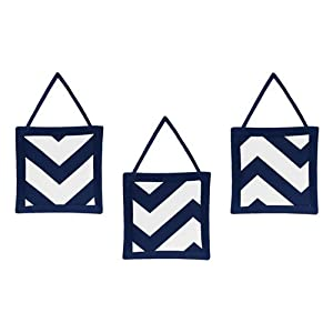 Sweet Jojo Designs 11-Piece Navy Blue and White Chevron Zigzag Unisex Baby Bedding Zig Zag Boy or Girl Crib Set Collection Without Bumper