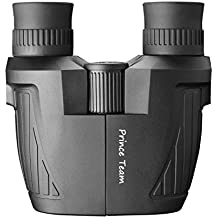 Prince Team 10x25 Folding High Powered Binoculars (BAK4,Green Lens) Lightweight Night Vision Clear Bird Watching Great for Outdoor Sports Games and Concerts