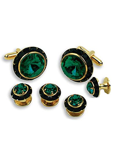Crystal-Cufflinks-and-Studs-with-Emerald-Center-and-Black-Trim