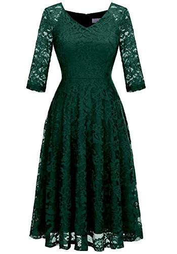 Dressystar Long-Sleeve A-Line Lace Bridesmaid Dress Midi for Wedding Formal Party L Dark Green