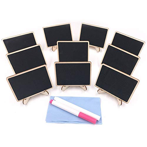 E-Conoro Mini Chalkboard (Pack of 10) with Support Easel, 2 Chalkboard Markers and Cleaning Cloth for Wedding Party Table Numbers Place Card Favor Tag Plant Decorative Sign food labels for party]()