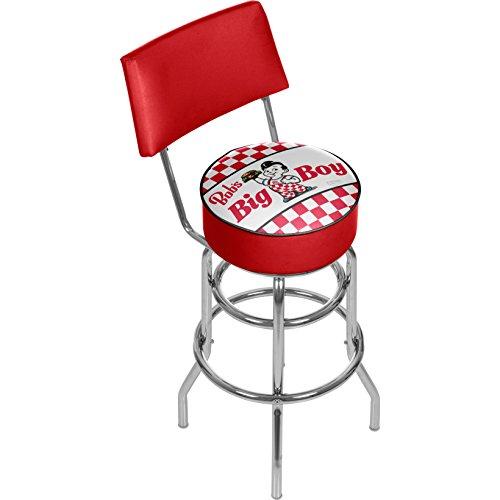 Bob's Big Boy Checkered Padded Swivel Bar Stool with -