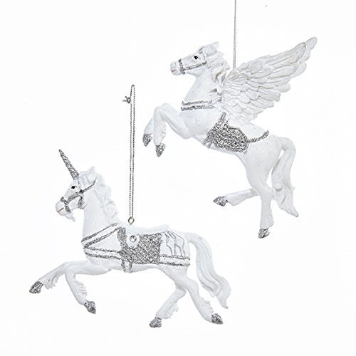 Kurt Adler Pegasus and Unicorn Christmas Ornaments 2 Assorted