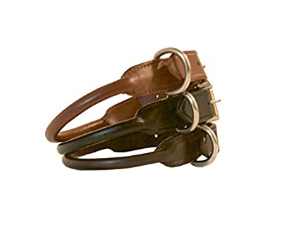 TUGBY Rolled Leather Dog Collar, Strong & Sturdy, All Sizes & Colors