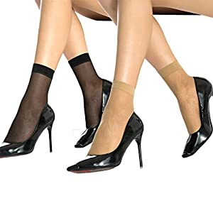 MANZI 12 Pairs Women's Ankle High Sheer Socks ( 6 Pairs Black,6 Pairs Tan)