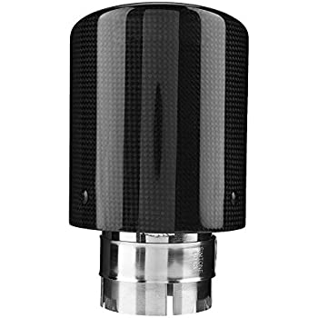 1X 63mm-89mm Carbon Fiber Glossy Black Car Exhaust Muffler Tips Pipe Tail Throat
