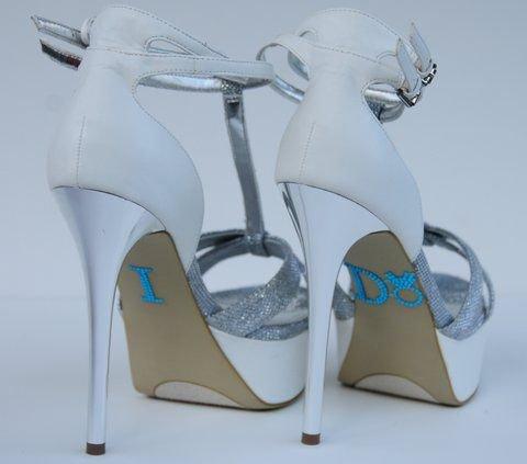 Unik Occasions Crystal Rhinestone I Do Wedding Shoe Stickers, Blue