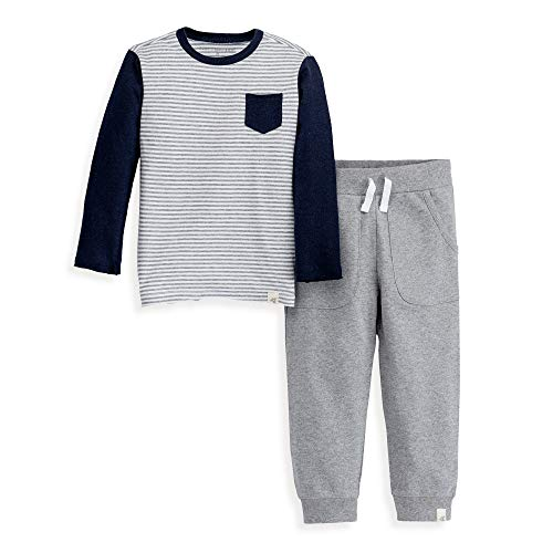 Burt's Bees Baby Boys' Little Kids Toddler Top and Pant Set, Tee and Joggers Outfit, 100% Organic Cotton, Stripe Pocket Tee & Jogger, 6 Years
