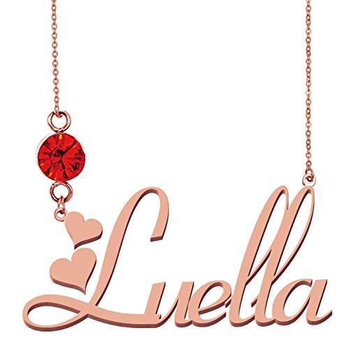 HUAN XUN Custom Everyday Birthstone Name Necklace Luella