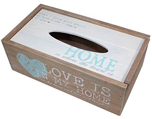 In legno Shabby Chic per fazzoletti scatola vintage di porta New Love is in my Home key hanger cabinet box