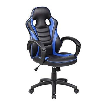SERMAHOME- Silla Escritorio, Gaming y PC. Tapizada Polipiel Azul y Negro. Reposabrazos