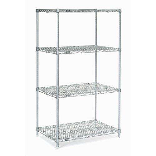 "Nexel 4-Shelf  Wire Shelving Unit, Silver Finish, 18""W x 60"""