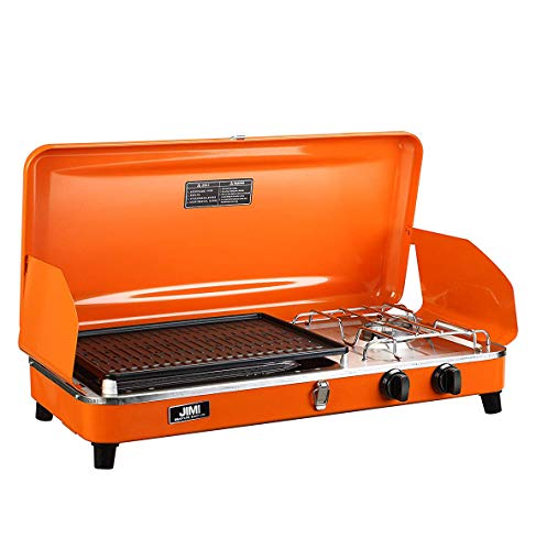 Portable 2 Burner Grill/Stove,Propane Grill With Free Hose