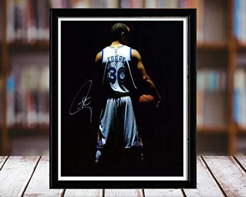 Stephen Curry Autograph Replica Print - Number 30 Jersey - 8x10 Desktop Framed Print - Portrait