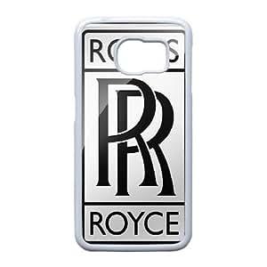 Marca Rolls Royces Símbolo Logo de coches 20393 Samsung Galaxy S6 Edge caja del teléfono celular funda blanca del teléfono celular Funda Cubierta EEECBCAAH77873