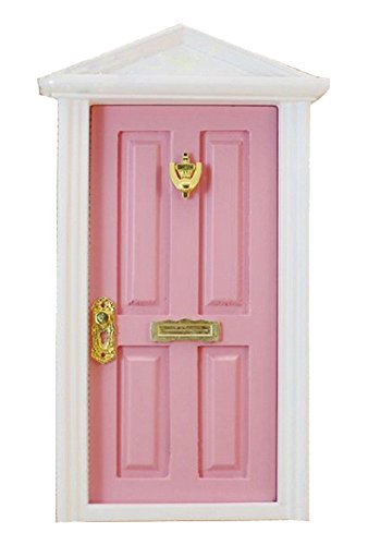 Gracefulvara 1:12 Dollhouse Miniature Wood Fairy Door Assembled with Metal Accessories - pink (Dollhouse Door)